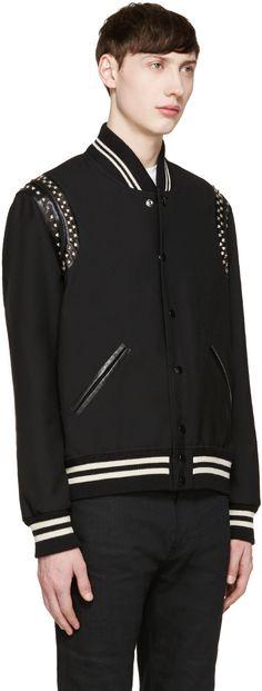 Saint Laurent - Black Studded Teddy Bomber Jacket