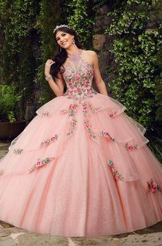 Mary's Quinceanera Dresses - Floral Embroidered Halter Ballgown - Mary's Quinceanera Dresses – Floral Embroidered Halter Ballgown Source by shopCOUTURECANDY - Quince Dresses Mexican, Mexican Quinceanera Dresses, Quinceanera Party, Sweet 15 Dresses, Pretty Dresses, Beautiful Dresses, Sparkly Dresses, Ball Gown Dresses, Tulle Ball Gown