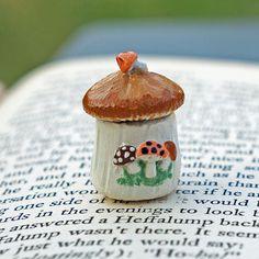Dollhouse Miniature Merry Mushrooms Cookie Jar by jellybeanminis
