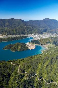 Queens Charlotte Drive, Marlborough Sounds, South Island, New Zealand - aerial