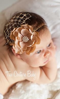 Gold Vintage Flower Rhinestone Baby Headband - The Couture Baby