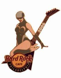 Chrome Club Sexy Girl Guitar Pin Hard Rock Cafe Philadelphia Le by Hard Rock Cafe. $16.97. Women wearing a gray body suit with eyes covered in mask. Purple guitar behind her. Second of three pins depicting popular clubs in Philadelphia. limited edition of 300