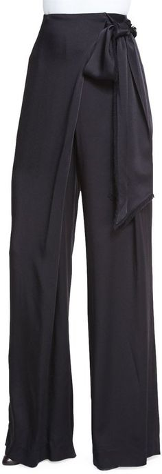 Pin for Later: Chrissy Teigen Just Wore Your Perfect Fall Pant Maiyet Wide-Leg Wrapped Satin Pants, Black ($1,195)
