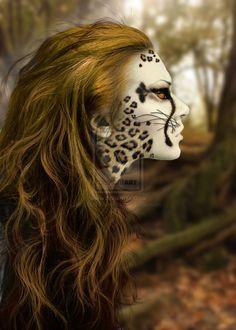-Cheetah- by ~BlackRibbonRose on deviantART // Looks like Cheetara from Thundercats! beauty,creativity jumper cables,inspiration,Makeup that I l Halloween Make Up, Halloween Face Makeup, Make Up Art, How To Make, Animal Makeup, Cheetah Makeup, Cheetah Face, Fantasy Make Up, Maquillaje Halloween