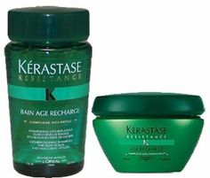 Kerastase Resistance Age Recharge Shampoo 8.5 oz & Masque 6.8 oz by Kerastase. $65.80. Kerastase Resistance  Age Recharge Masque 6.8 oz. Kerastase Resistance Bain Age Recharge 8.5 oz. For fine and brittle hair, for lifeless and damaged hair.  Contains the Vita-Ciment Complex, proprietary formula that strengthens the hair core and improves its resistance to environmental effects.