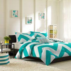Amazon.com - Mizone Libra Comforter Set - Blue - Twin/TXL - Teal Twin Chevron