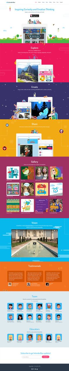 Colorful One Pager filled with fun illustrations for 'WonderBox' - a new discovery iPad app for kids.