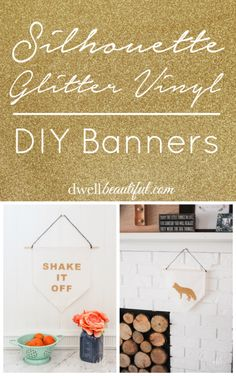 Make fun and quirky DIY banners using your Silhouette Cameo and some glitter heat transfer material/vinyl!