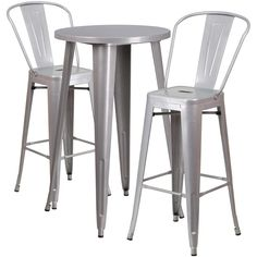 24'' Round Metal Indoor-Outdoor Bar Table Set with 2 Cafe Barstools