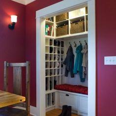 shelves, shoe cubbies, coat hooks, storage cubes, drawers..easy access but not all visable!!
