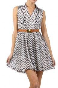Chiffon Day Dress Chevron print dress, belted dress party dress