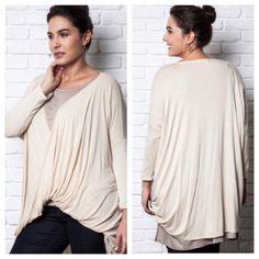"""Drop sleeve twist top (XL 1x 2x) Drop sleeve twist top  Length- 36"""" at the longest part.  Materials- 65% cotton/ 35% polyester. RUNS LARGE! I'm a 1/2x and I own an XL and fit perfectly in it. This looks stunning with leggings and boots/ booties. Color is slightly off white  NWOT. Brand new without tags. Availability- XL•2x•3x • 3•2•1 PLEASE do not purchase this listing. Price is firm unless bundled. No trades Tops"""