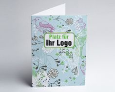 #Logokarte #Grusskarte mit Vögeln in pastelblau