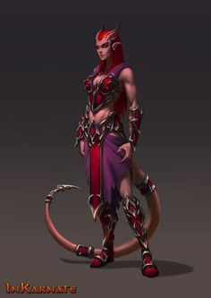 Xannaris, the red fist, female demon, devklin, red demon, mage demon, sorcerer, wizard, https://www.artstation.com/artwork/B2ERA