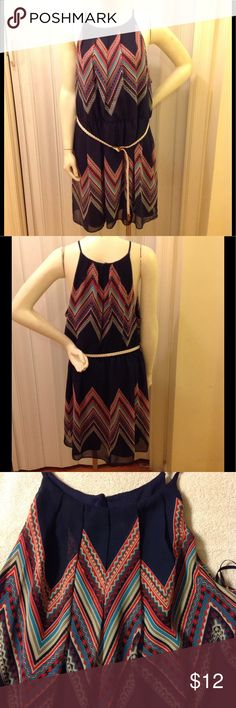 NWOT Aztec Patterned Sun Dress, belted waist Sz 2x Polyester with polyester lining by&by Dresses Mini