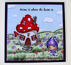 The Mushroom House and Little Gnome digis by Julia Spiri. Card created by Lynda Hall http://lyndascraftyhall.blogspot.co.uk/2016/05/new-home-card-with-julia-spiri-images.html