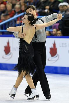 Tessa Virtue and Scott Moir of Canada skate during the ice dance short program at the 2013 Skate Canada, Ice Dancing dress inspiration for Sk8 Gr8 Designs.