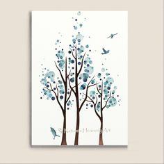 Blue Home Decor Watercolor Tree Print, Flying Birds 5 x 7 Nature Wall Art Print, Modern Living Room Art.