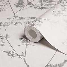 Graham & Brown Gilded Fern Grey Leaf Metallic