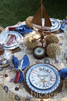 Nautical themed table scape for a boy's party. Nautical Table, Nautical Party, Nautical Home, Nautical Wedding, Seaside Wedding, Nautical Dishes, Nautical Centerpiece, Nautical Colors, Gold Wedding