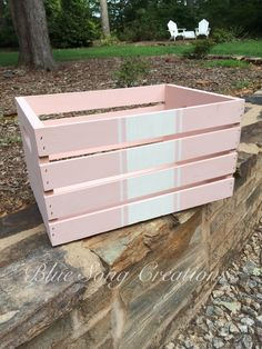 I painted this crate pink and added a grain sack pattern. Love the result! Painted by: Blue Song Creations Blue Song, Grain Sack, Outdoor Furniture, Outdoor Decor, Painted Furniture, Crates, Songs, Wood, Pattern