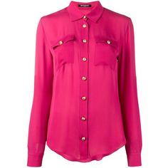 Balmain long sleeve blouse ($1,475) ❤ liked on Polyvore featuring tops, blouses, pink, silk blouse, long shirt, pink shirts, silk button-down shirts and pink long sleeve shirt