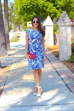Knee Length Blue Floral Dress