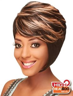 Style: Straight/High Heat Description: Asymmetrical with a layered cut styled like a boy, but with a silky texture and highly resistant to heat. Length: Short bob Color Shown: Shag Hairstyles, Black Women Hairstyles, Haircuts, Synthetic Lace Front Wigs, Synthetic Wigs, Shory Hair, Short Hair Cuts, Short Hair Styles, Quick Weave