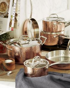 Fleischer and Wolf Seville Hammered Copper Cookware Set - Crate and Barrel Cast Iron Cookware, Cookware Set, Wood Oil Finish, Kitchen Gadgets, Kitchen Appliances, Pasta, Copper Kitchen, Hammered Copper, Pure Copper