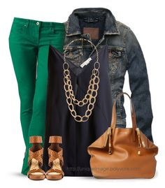 A fashion look from July 2014 featuring STELLA McCARTNEY tops, Abercrombie & Fitch jackets y Blank Denim jeans. Browse and shop related looks. Simple Outfits, Casual Outfits, Cute Outfits, Pantalon Vert Olive, Fall Winter Outfits, Spring Outfits, Kelly Green Pants, Dark Green Pants, Green Pants Outfit