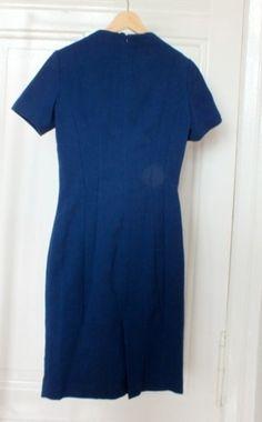 MANGO Suit Frühling Wolle Midi 50ies 60ies Royal Blue Vintage Blau Etuikleid Büro - kleiderkreisel.at