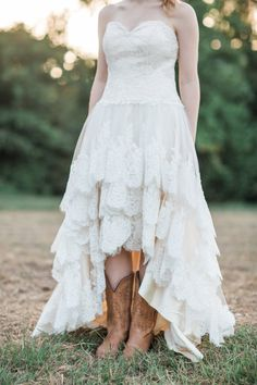 fdddcb005b Items similar to Country Wedding Dress with Lace High Low Hem - The  Guinevere Dress on Etsy