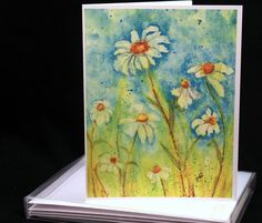 Set of Original Watercolor Daisies, Daisy Note Cards/Greeting Cards (Set of Four), Flower Cards, Watercolor Cards by McKinneyx2Designs on Etsy https://www.etsy.com/listing/466865751/set-of-original-watercolor-daisies-daisy