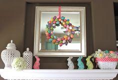 Easter Fireplace Mantel #easter #fireplace #mantel #petitepartystudio