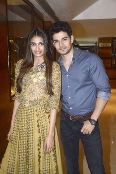 Bollywood Actor Sooraj Pancholi and Actress Athiya Shetty were snapped while promoting their upcoming movie Hero.