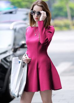 Rose Red Long Sleeve Flare Dress $15.17