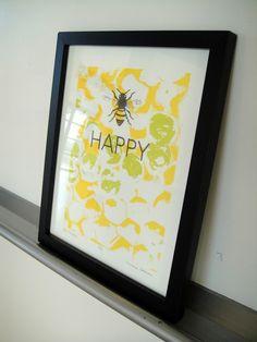 Be Happy Screen Print by MimiSolum on Etsy, $20.00