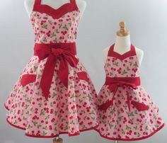 Items similar to Mother & Daughter Retro Cherries Apron Set, in a Pink and Red Cotton Print, with Optional Personalization on Etsy Pink Apron, Retro Apron, Aprons Vintage, Toddler Apron, Childrens Aprons, Embroidered Apron, Sewing Aprons, Apron Designs, Retro Fashion