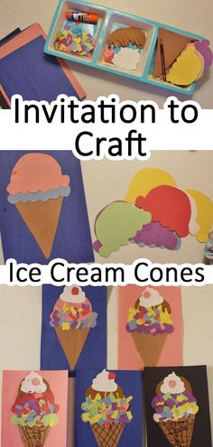 Invitation to Craft Ice Cream Cones - Crafts for Kids - icecream Summer Crafts For Kids, Projects For Kids, Art For Kids, Craft Activities For Kids, Toddler Activities, Preschool Activities, Toddler Art, Toddler Crafts, October Crafts