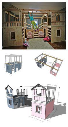 Indoor Playhouse, Build A Playhouse, Indoor Playset, Playset Diy, Indoor Playroom, Ana White, Furniture Plans, Kids Furniture, Barbie Furniture