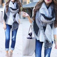 Grey & Black Blanket Scarf ?? Must have white, Grey & Black Blanket Scarf ??! Must have for fall and winter! Accessories Scarves & Wraps