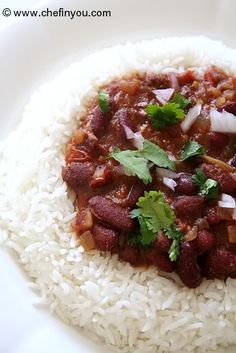 Punjabi Rajma Chawal Recipe (Kidney beans Curry Rice)  *Great website for vegetarian and vegan recipes*