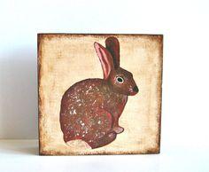 Brown Bunny Rabbit 5x5 art block on wood Woodland Forest Nature Animal beige red tile studio. $29.00, via Etsy.