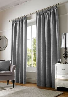 Chenille Plain Curtains Pencil Pleat Lined Curtains & Matching Cushion Covers Room Inspiration, Pleated Curtains, Room Set, Plain Curtains, Charcoal Curtains, Curtains, Cream Pencil Pleat Curtains, Home Collections, Solid Curtains