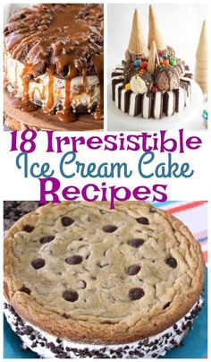 A combination of two dessert classics! Who doesn't love cake and ice cream? These easy desserts are perfect for birthdays, special celebrations or any time you're craving dessert. cream desserts, 18 Irresistible Ice Cream Cake Recipes - is AMAZING! Ice Cream Desserts, Köstliche Desserts, Frozen Desserts, Dessert Recipes, Desserts For Birthdays, Recipe For Ice Cream Cakes, Best Ice Cream Cake, Easy Birthday Desserts, Ice Cream Cupcakes