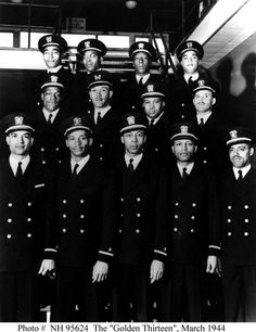 "African-Americans and the U.S. Navy - The ""Golden Thirteen""   In February 1944, the Navy commissioned its first African-American officers. This long-hoped-for action represented a major step forward in the status of African-Americans in the Navy and in American society. The twelve commissioned officers, and a warrant officer who received his rank at the same time, came to be known as the ""Golden Thirteen""."