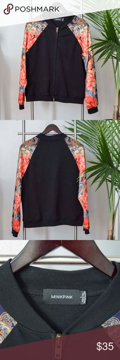 Zip Up Bomber This is very thin, and light! Would be perfect for cool summer nights or fall time. Only worn once. Listed as brand for exposure. Brandy Melville Jackets & Coats