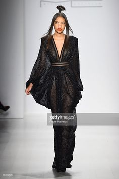 A model walks the runway at the Michael Costello fashion show during Mercedes-Benz Fashion Week Fall 2015Salon at Lincoln Center on February 17, 2015 in New York City.