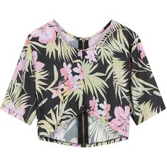 Yoins Floral Crop Top With Asymmetric Hem (246.510 IDR) ❤ liked on Polyvore featuring tops, black, cut-out crop tops, floral tops, cropped tops, floral print crop top and zip crop top