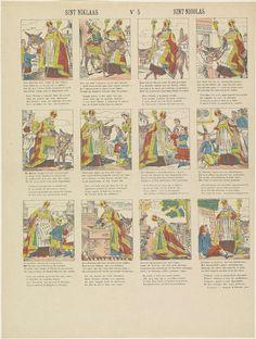 Centsprent met 12 voorstellingen over de feestdag van Sint Nicolaas. Onder elke afbeelding een vierregelig vers in het Nederlands en in het Frans.